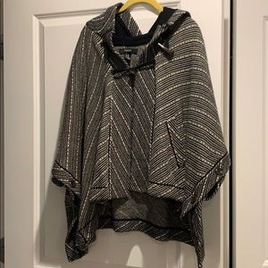 Black and white hooded poncho
